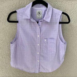 Aritzia Cropped Sleeveless Oxford Button Shirt